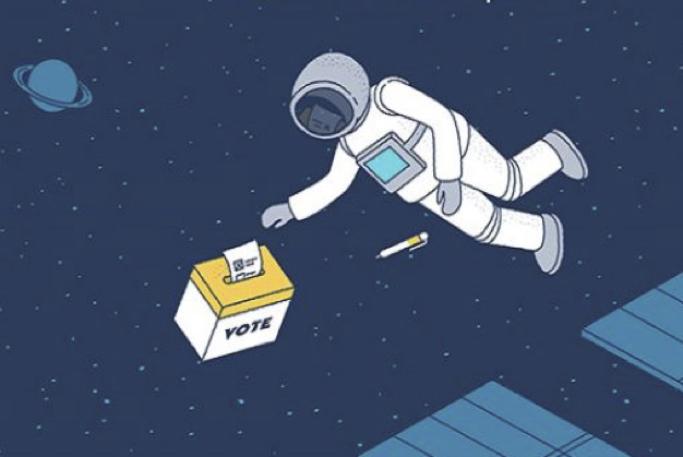 Do astronauts cast their vote from space?