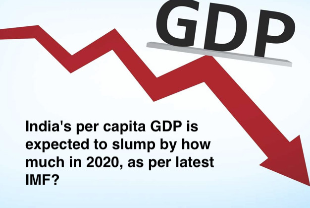 India's per capita GDP is expected to slump by how much in 2020, as per latest IMF?